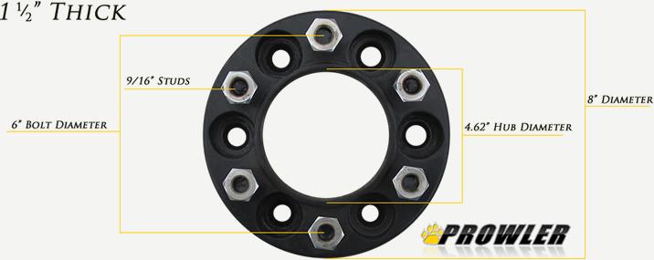 Black 1.5 Inch 6 Lug Wheel Spacers