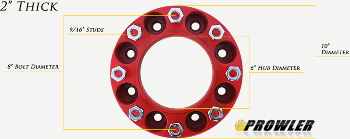 Red 2 Inch 8 Lug Wheel Spacers