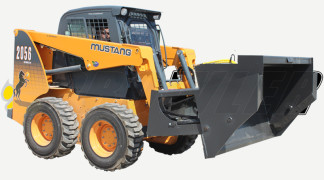 Skid Steer With High Dump Bucket Attachment