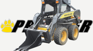 Skid Steer Equipped With Stump Bucket